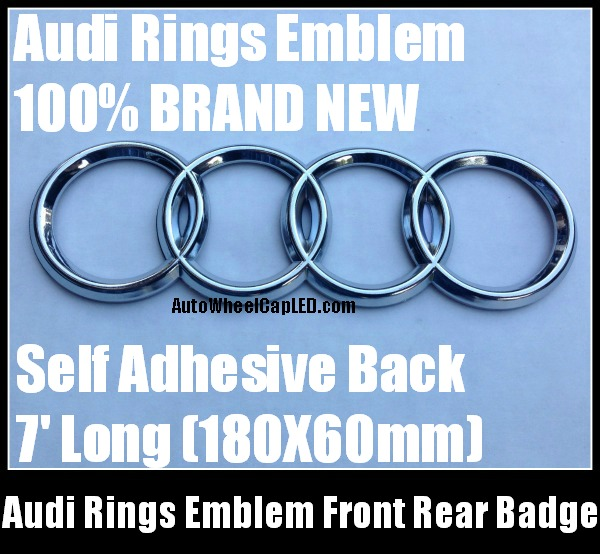 audi rings chrome silver emblem front rear 180mmx60mm grill hood trunk badge a3 a4 a6 a8 s3 s4. Black Bedroom Furniture Sets. Home Design Ideas