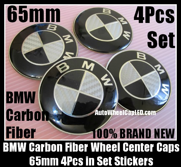 Bmw Carbon Fiber Black White Wheel Center Hubs Caps 65mm Roundel Emblems Badges Stickers 4pcs