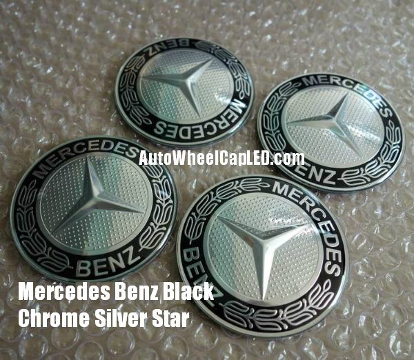 Mercedes benz black silver star wheel center caps emblems for Mercedes benz silver star