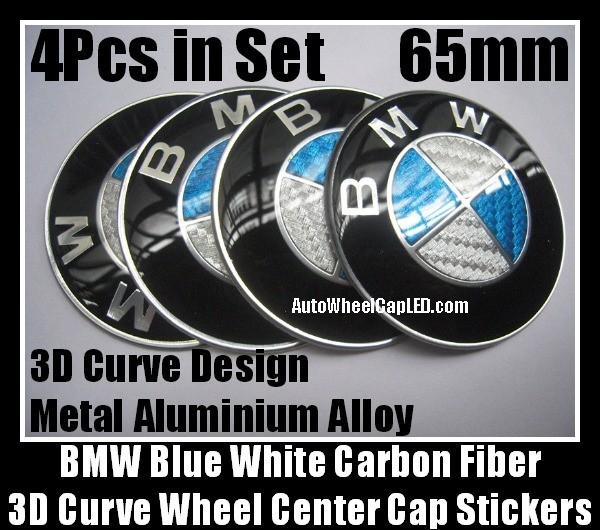 Bmw Carbon Fiber Blue White Wheel Center Hubs Caps 65mm Roundel Emblems Badges Stickers 4pcs