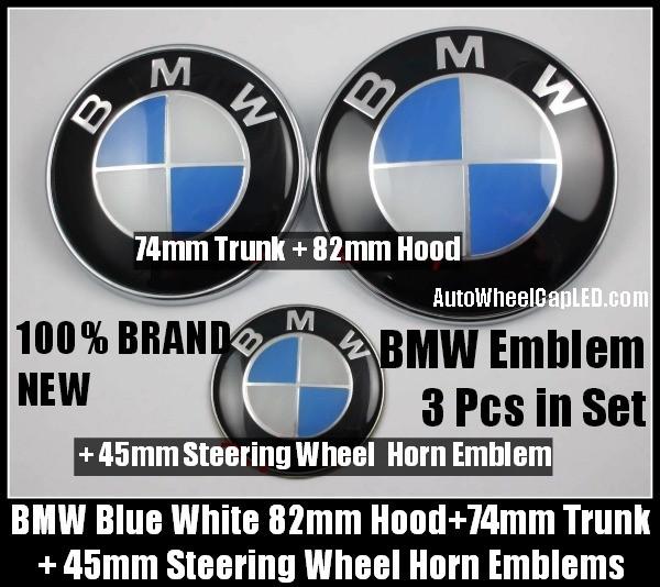 Bmw Blue White 82mm Hood 74mm Trunk 45mm Steering