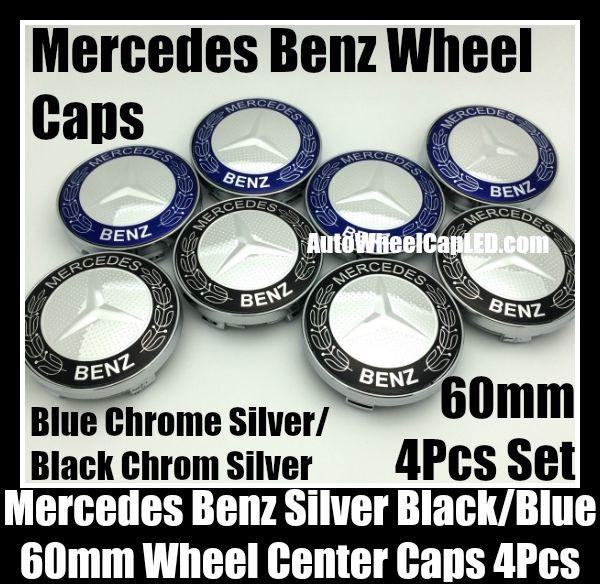 Mercedes benz 60mm blue black chrome silver star wheel for Center caps for mercedes benz wheels