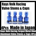 Rays Volk Racing Forged Metallic Blue Aluminum Valve Stems Caps Japan Wheels Rims Work Japan 4Pcs Set