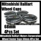 Mitsubishi Ralliart Motors Corporation Wheel Center Caps Emblems 68mm Evolution Lancer Eclipse FTO GTO 4Pcs Set