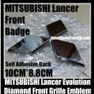 Mitsubishi Lancer Evolution Front Grille Badge Diamond Emblem Chrome Silver Hood Bonnet