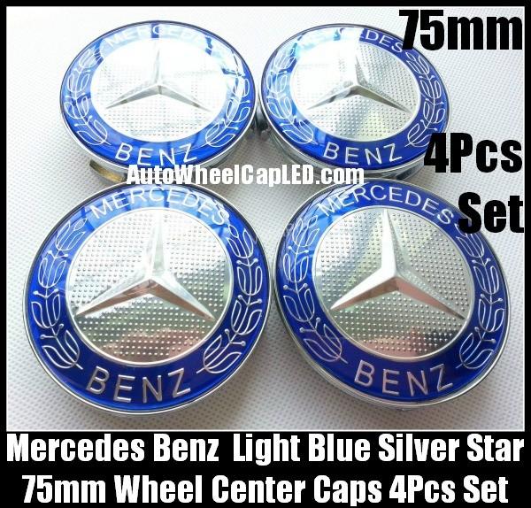 Mercedes benz 75mm light blue chrome silver star wheel for Mercedes benz silver star