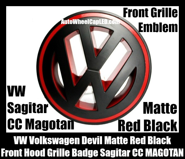vw volkswagen matte red black front grille emblem badge. Black Bedroom Furniture Sets. Home Design Ideas