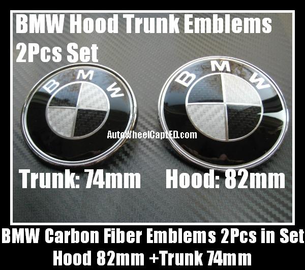 Bmw Black White Carbon Fiber 82mm Hood 74mm Trunk Emblems Bonnet Boot Roundels Badges 2pcs Car