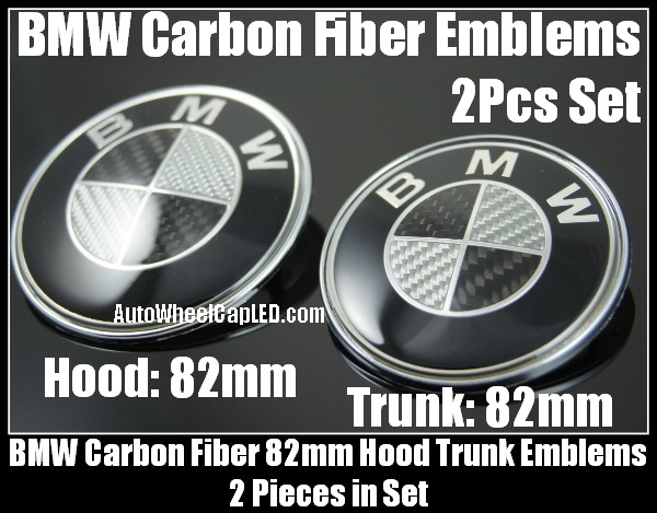 New Bmw Black White Carbon Fiber 2pcs 82mm Hood Trunk Emblems Roundel Badge Set By Autowheelcapled