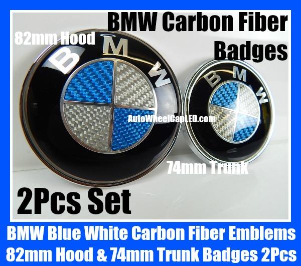 Bmw Blue White Carbon Fiber 82mm Hood 74mm Trunk Emblems