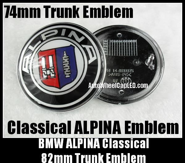bmw alpina trunk boot emblem 74mm badge 2pins aluminium. Black Bedroom Furniture Sets. Home Design Ideas