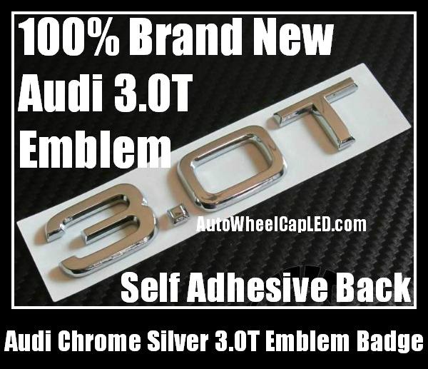 Audi 3.0T Quattro Rear Trunk Black Chrome Silver Letters