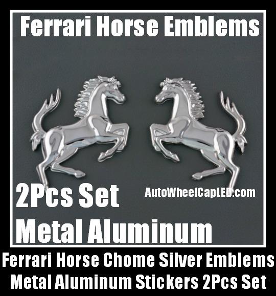 Ferrari Metal Chrome Silver Horses Logo Badge Emblems Stickers 2pcs