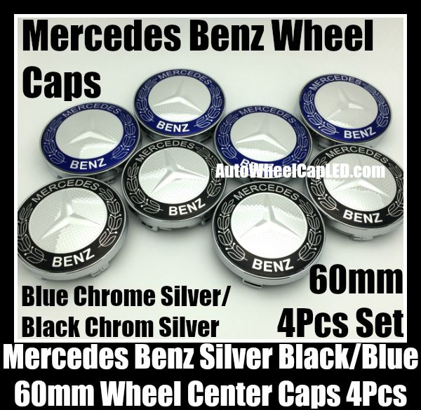 Mercedes benz 60mm blue black chrome silver star wheel for Mercedes benz black center caps