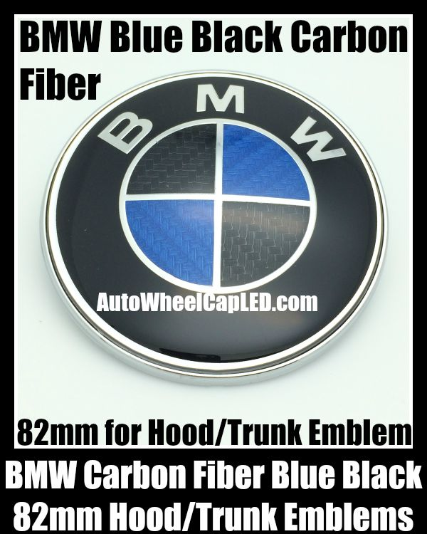 Bmw Carbon Fiber Blue Black 82mm Hood Trunk Emblem Bonnet Boot Badge Roundel 2pins By