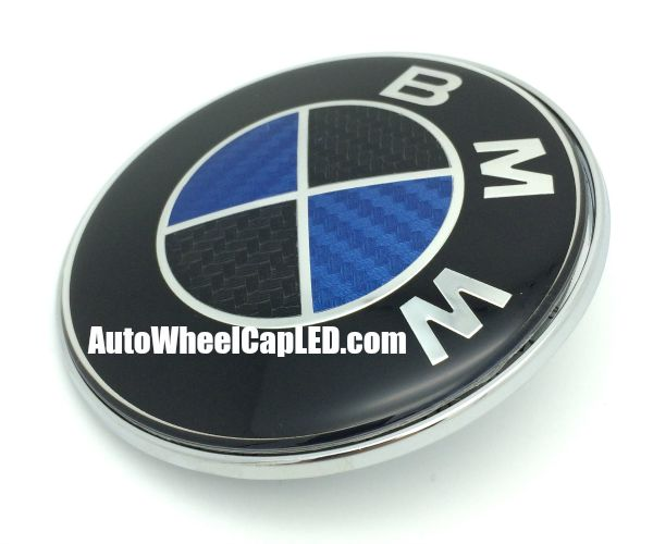 Bmw Carbon Fiber Blue Black 74mm Trunk Emblem Boot Badge Roundel 2pins By Autowheelcapled