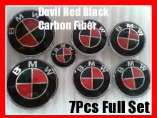 BMW Devil Black Red Carbon Fiber Full Set Emblems - AutoWheelCapLED.com