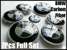 BMW Devil Black White Carbon Fiber Full Set Emblems - AutoWheelCapLED.com