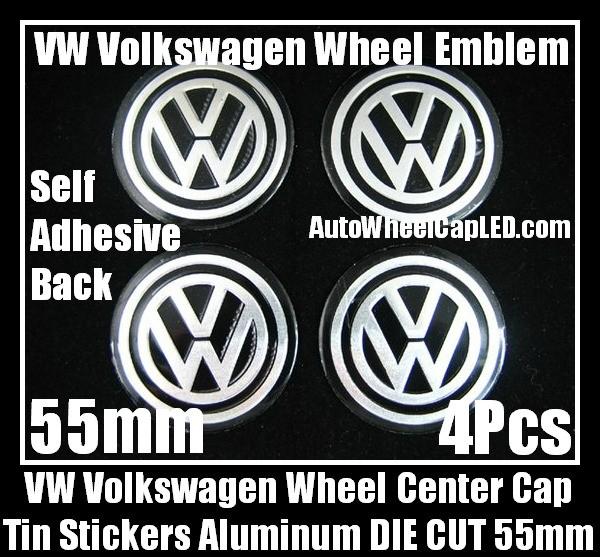 VW Volkswagen Wheel Center Caps Tin Roundels Stickers Aluminum DIE CUT 55mm Emblems Badges