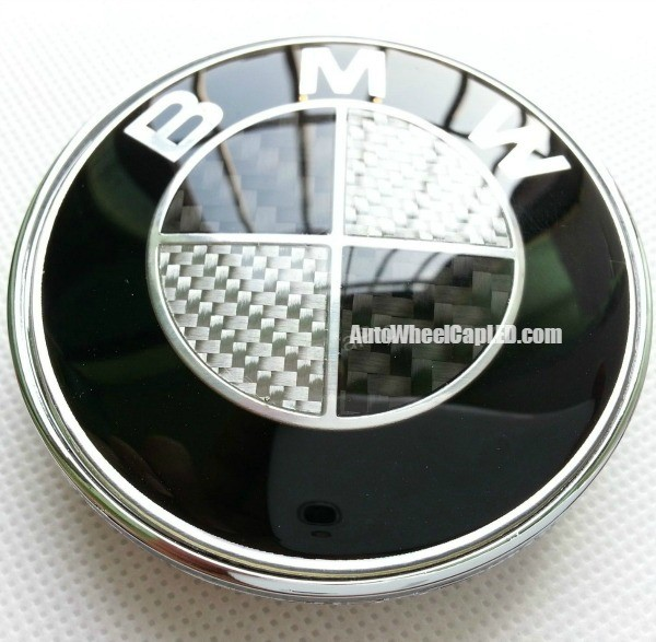 BMW Black White Carbon Fiber 82mm Hood Trunk Emblem Roundel Badge 2Pins