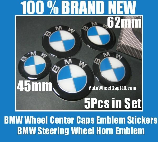 BMW Blue White 62mm Wheel Center Caps Roundels 45mm Steering Horn Emblems Badges Stickers 5Pcs Full Set