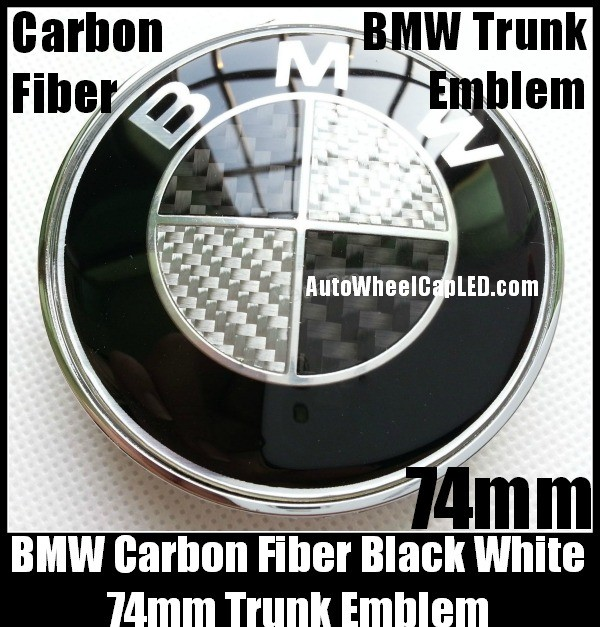 bmw carbon fiber black white oem trunk emblem roundel badge 74mm 2pins. Black Bedroom Furniture Sets. Home Design Ideas
