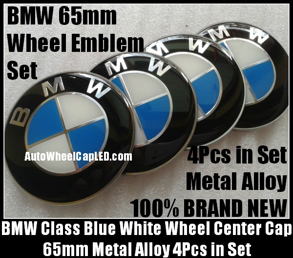 BMW Blue White 65mm Curve Wheel Center Caps Emblems Stickers Metal Aluminum Alloy 4Pcs in Set