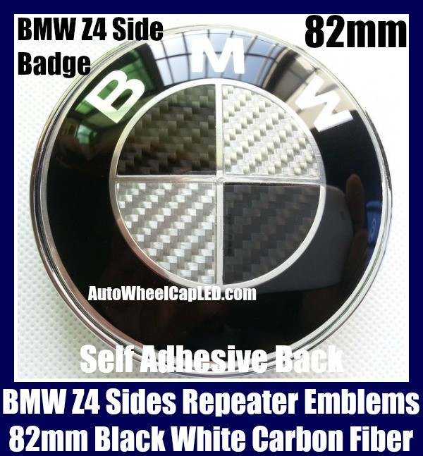 BMW Z4 Black White Carbon Fiber 82mm Sides Light Repeaters Emblem Roundel Badge Self Adhesive Back