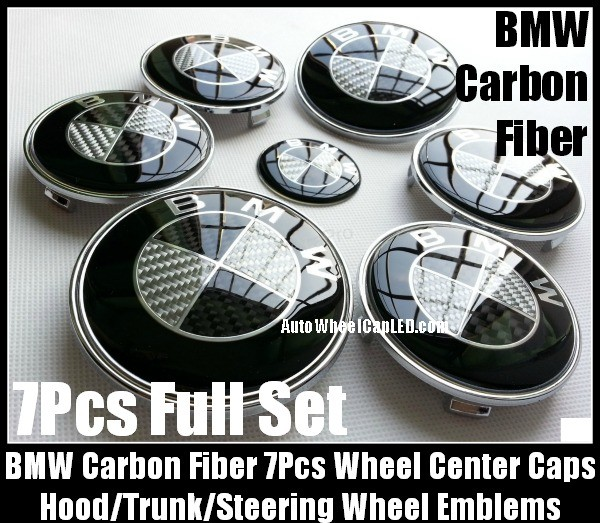 BMW Carbon Fiber Black White Wheel Center Caps 68mm Steering Horn 45mm Hood 82mm Trunk 74mm Emblems 7Pcs Bonnet Boot Roundels Badges Full Set