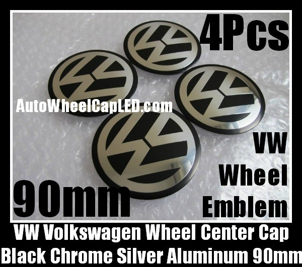 VW Volkswagen 90mm Black Chrome Silver Wheel Center Caps Roundels Stickers 4Pcs Emblems Badges Curve Aluminum Alloy