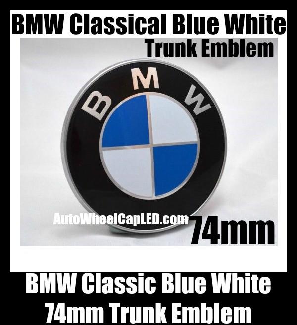 BMW Classic Blue White 74mm Trunk Emblems Badge Roundel Boot Aluminium Alloy 2Pins