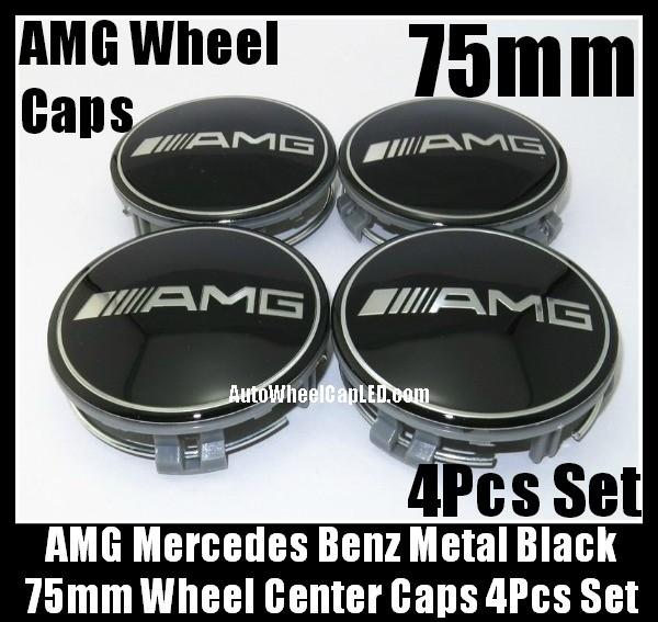AMG Mercedes Benz Devil Black Chrome Silver Wheel Center Caps 75mm Hubs Emblems Badges CLK ML GL SL CL E C S Class 4Pcs