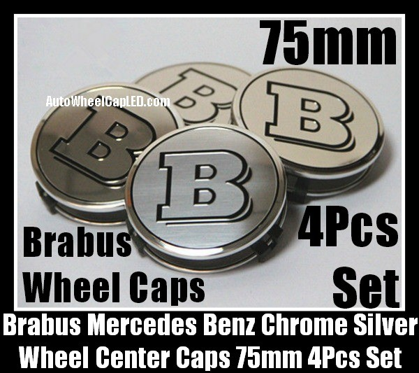 Brabus Mercedes Benz Chrome Silver Wheel Center Caps 75mm CLK S C Class C200 C180 E63 4Pcs Set