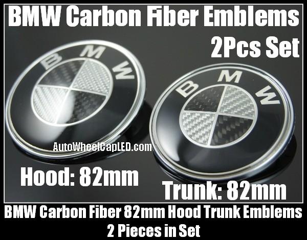 BMW Black White Carbon Fiber 2Pcs 82mm Hood Trunk Emblems Bonnet Boot Roundels Badges