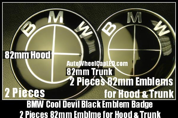 BMW Full Devil Black 82mm Hood Trunk Emblems Bonnet Boot Roundels Badges 2Pcs Set 2Pins