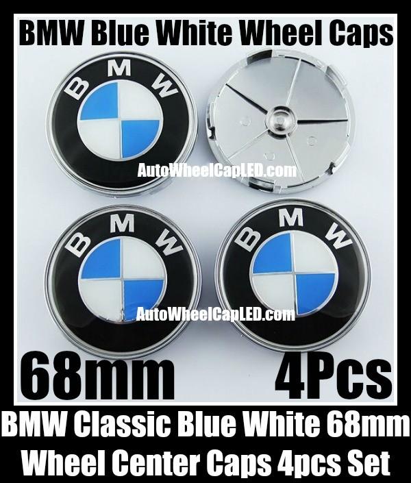 BMW Classic Blue White 68mm Wheel Center Hubs Caps Roundels 4Pcs Emblems Badges Aluminium Alloy