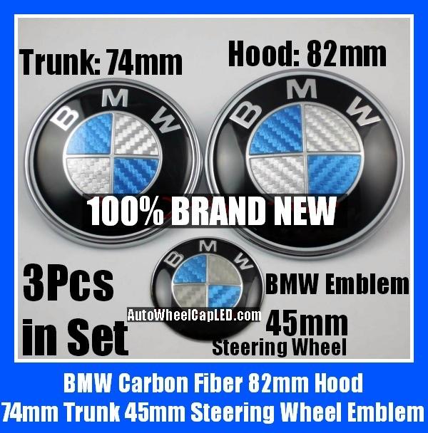 BMW Carbon Fiber Blue White Steering Horn 45mm Hood 82mm Trunk 74mm Emblems 3Pcs Bonnet Boot Roundels Badges