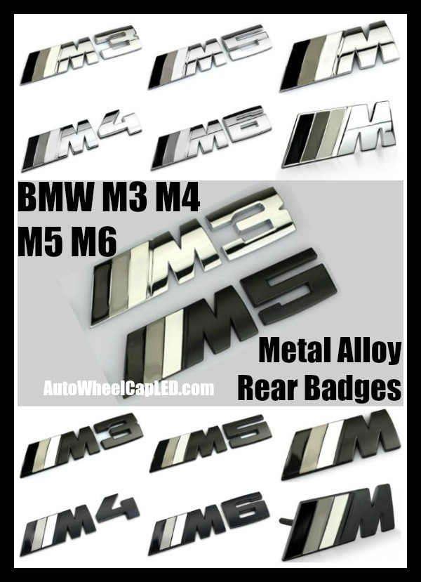 BMW ///M M3 M4 M5 M6 Black Grey Silver Trunk Rear Emblems Front Grille Metal Alloy Curve Badges Stickers Power 3 Stripes