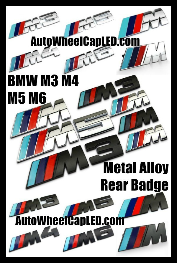BMW ///M M3 M4 M5 M6 Blue Red Black Silver Trunk Rear Emblems Front Grille Metal Alloy Curve Badges Stickers Power 3 Stripes