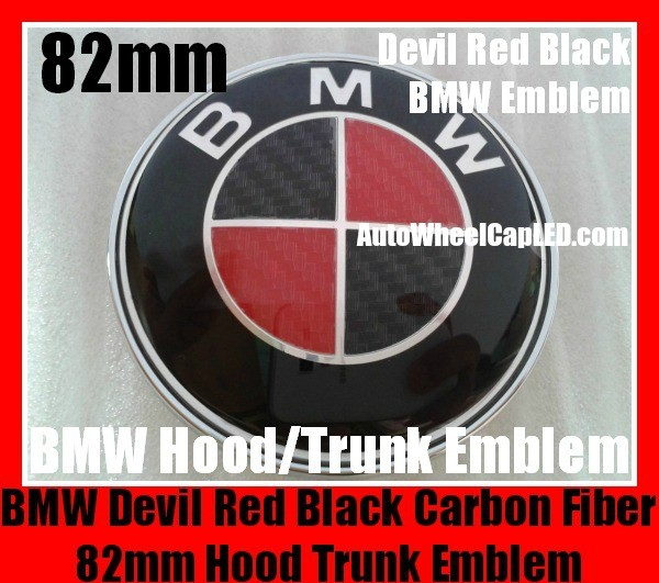 BMW Devil Red Black Carbon Fiber 82mm Hood Trunk Emblems Badges Roundels Bonnet Boot 2Pins