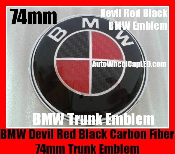 Bmw Devil Red Black Carbon Fiber 74mm Trunk Emblems Boot Badges