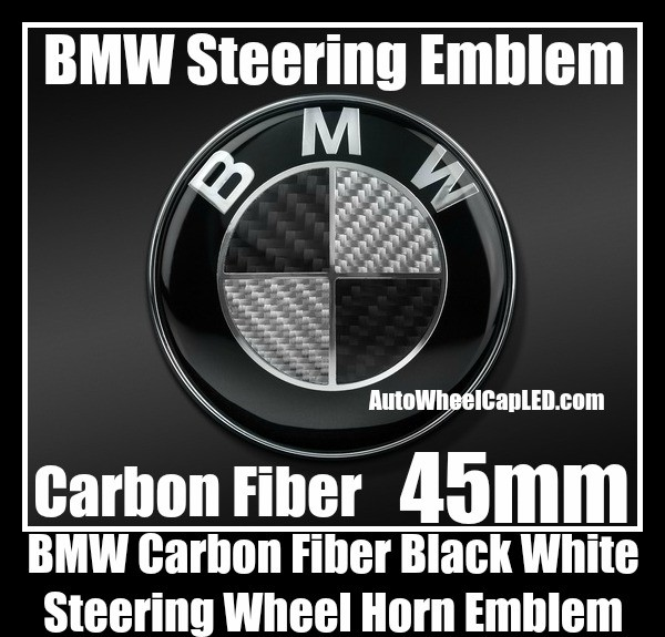 BMW Black White Carbon Fiber Steering Wheel Horn Emblem Badge Roundel 45mm