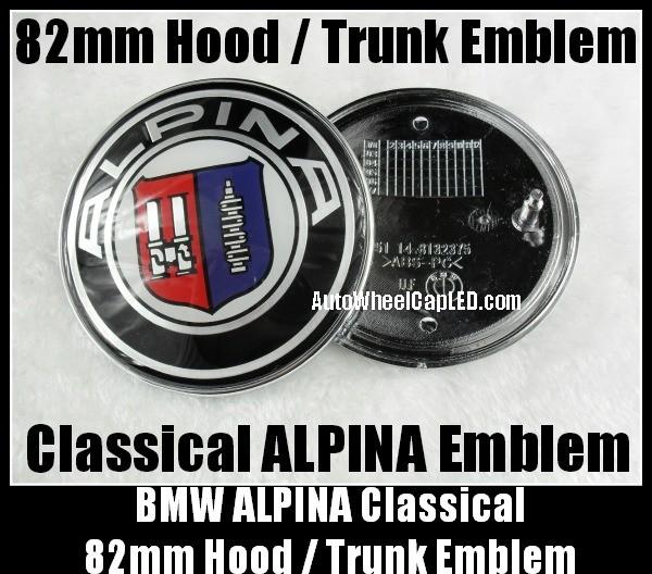 bmw alpina 82mm hood trunk emblems badge roundel bonnet. Black Bedroom Furniture Sets. Home Design Ideas