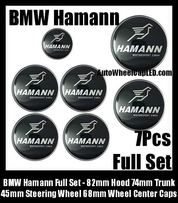 BMW Hamann 7Pcs Emblems 82mm Hood 74mm Trunk 68mm Wheel Center Caps 45mm Steering Horn Motorsport GMBH Bonnet Boot Roundels Badges Silver Bird Full Set
