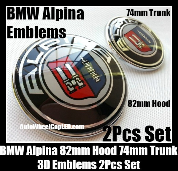 bmw alpina 82mm hood 74mm trunk emblems badge 2pcs bonnet. Black Bedroom Furniture Sets. Home Design Ideas