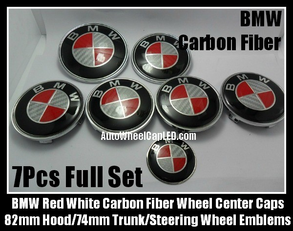 BMW Carbon Fiber Red White Wheel Center Caps 68mm Steering Horn 45mm Hood 82mm Trunk 74mm Emblems 7Pcs Roundels Badges Full Set