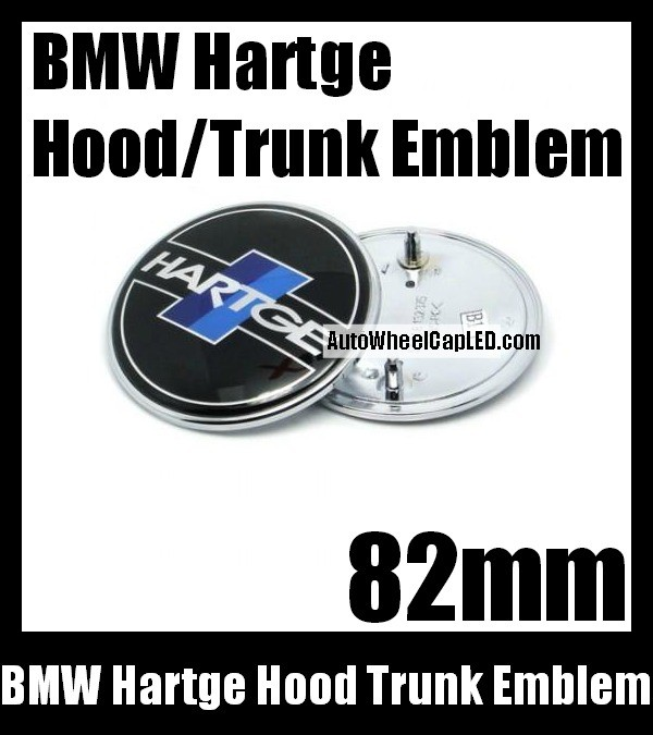 BMW Hartge Black Blue Stripes Hood Trunk Emblem 82mm Roundel Badge Aluminium Alloy