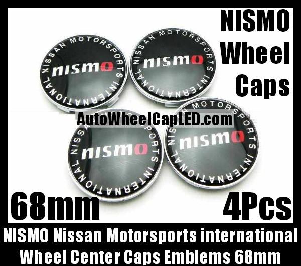 NISMO NISSAN Wheel Center Caps Emblems Motorsports International 68mm Badges Fairlady Sentra Murano Maxima Altima 4Pcs