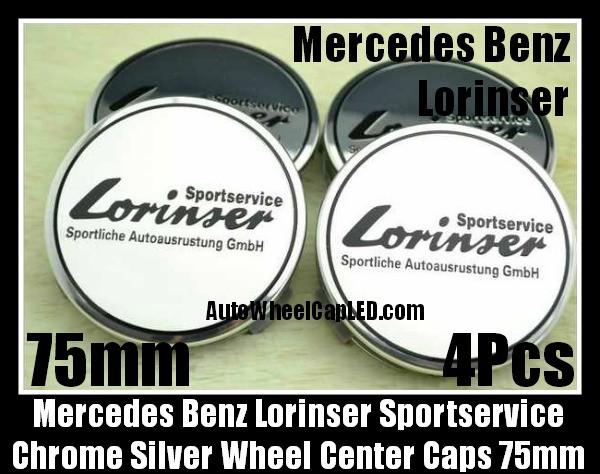 Mercedes Benz Lorinser Sportservice 75mm Chrome Silver Wheel Center Caps Emblems 4Pcs Set