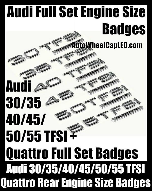 Audi '30/35/40/45/50/55' TFSI Quattro Rear Trunk Emblems Badges Full Sets A3 A4 A5 A6 A7 A8 Q3 Q5 Q7 TT A4L A6L Engine Size